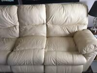 3 Seater recliner Leather Sofa Cream