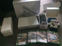 Xbox one s, two wireless controllers, games bundle, has two years warranty