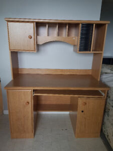 desk with hutch and keyboard tray