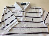 RALPH LAUREN POLO Shirt Mens Classic Fit White Striped t-shirt boys unisex Medium Large M RRP £75