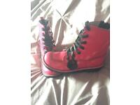 Patent Pink Kickers Boots Size 4