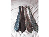 4 mixed colour paisley ties
