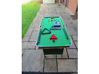 Snooker table 4 foot x 2 foot excellent condition with balls, cues & equipment
