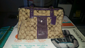 Coach purse with purple accents