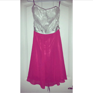 Hot Pink & Silver Formal Dress - Corset Back - Size Small