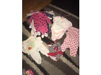 0-3 months baby girl vests and baby grow bundle