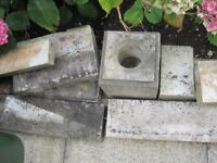 MARBLE STONEWORK FROM A DISMANTLED 1974 KERB TYPE GRAVE INCLUDING VASE HOLDER