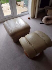 Leather Cream/Beige Ottoman Style Storage Stool and Footstool