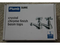 Bathroom basin taps - Plumbsure crystal chrome finish - brand new in box