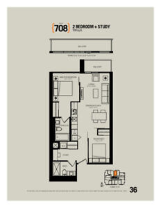 MOVE IN ASAP: Beautiful, Never Lived In, 2 Bedroom+Study Condo