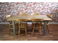 Solid Hardwood Chunky Slab Farmhouse Dining Table Set