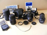 Chinon CE4S 35mm Film Camera withLenses and Flash Unit