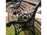 1.35m cast iron and Scandinavian redwood bench