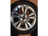 set of 4 citreon alloys 16inch with tyres 195/55/16 like new