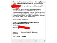 2 Vfest Chelmsford Red Weekend Camping Tickets
