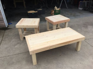 Unfinished Sanded Wood Coffee Table and End Tables