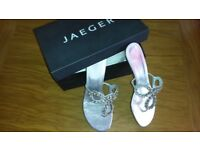 Silver & Crystal Jaeger Ladies Sandals Size 7 - 8 / 41 - ideal for wedding / prom / party