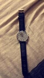 Emporio Armani black leather men's watch