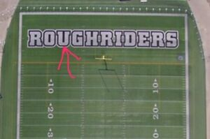 """Mosaic turf - """"U"""" from """"ROUGHRIDERS"""" In the End Zone - 17' x 24'"""