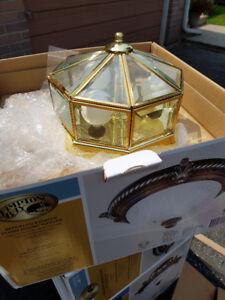 4 brass hexagon lights