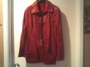2 ladies' leather jackets:1 red,1 black, never worn, size 10/12