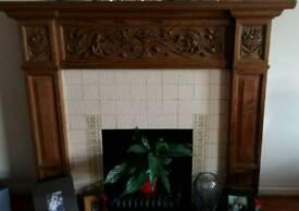 Wood Fireplace surround and slate hearth
