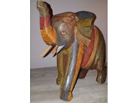 Beautiful Hand Crafted Wooden Indonesian Elephant