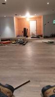 Installation de plancher flottant et bois-franc