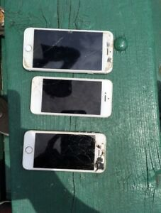 3 cracked iPhones
