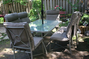 9Pcs Glass Table 6Chairs With Pads Patio Set.