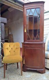 Mahogany Corner Cabinet ~ Ornate Key Locks *DELIVERY POSS* (dresser sideboard shabby chic oak pine)