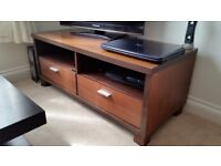 Solid brown wooden tv unit with two drawers - tv stand