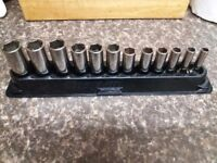 *** Snap On 3/8 Drive Deep Sockets 6 Point 8mm-19mm 12 Piece *** £80