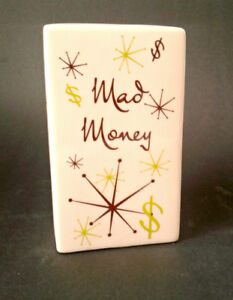 "RETRO Pretty Penny Bank ""MAD MONEY"" Ceramic Savings Bank"