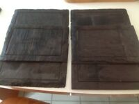 Set of six natural slate plates