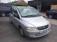 FIAT MULTIPLA 1.9 DIESEL 05 REG IN SILVER WITH BLUE TRIM, SERVICE HISTORY AND MOT MARCH 2018