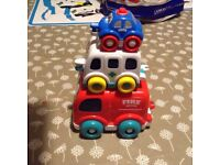 Three stacking emergency vehicles