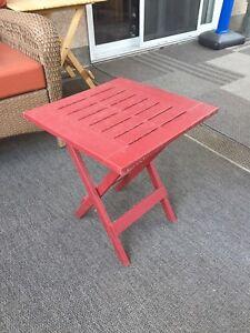 2 plastic patio tables