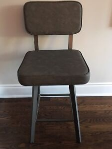 3 Grey Leather kitchen stools. Must sell!
