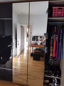 Large Double Wardrobe In Great Condition (1 year old). Walnut and Basalt.