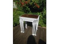 Vintage Shabby Chic Solid Wood & Glass Nest Tables / Coffee Tables