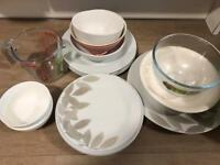 Bowls, plates and measure glass
