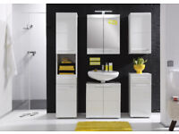 Furnline Bora High Gloss Bathroom Furniture Tall Cabinet, White