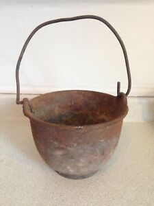 "Large 8"" Dia Antique Cast Iron Lead Melting Pot, Marked WC A24-8"