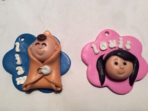 Personalized siblings polymer clay keychain