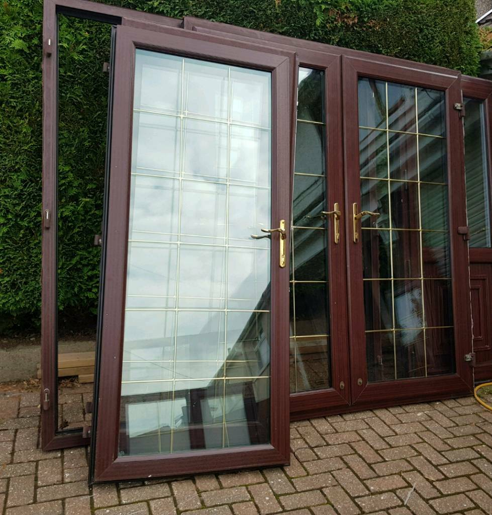 1 Set Of Upvc Double Glazed French Doors Woodgrain Rosewood Brown