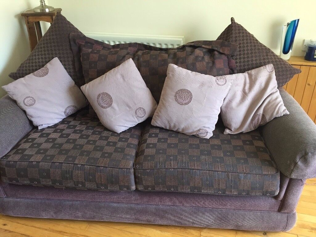 Sofa Bed (Double) with matching armchair and footstool. Curtains to matchin Lurgan, County ArmaghGumtree - Sofa Bed (3 seater sofa. Full Double Size bed. Custom made) purple/lilac mix with cushion back and 4 scatter cushions. Also comes with mattress to suit. Armchair purple/lilac mix with firm back and 1 scatter cushion. Footstool purple Curtains tab top...