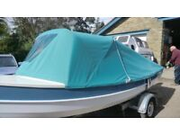 16FT OPEN FISHING/ DAY BOAT WITH NEW 5HP 4 STROKE TOHATSU AND NEW FULL CANOPY AND TRAILER