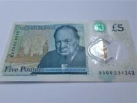 Rare - AA04 - NEW Polymer Five Pound Note