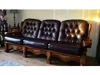 Wooden Frame Leather Sofa
